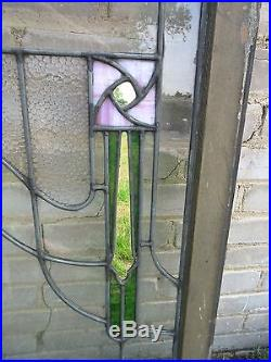Antique Arts & Crafts Stained Leaded Glass Window Glasgow Roses