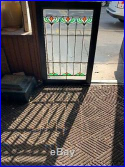 Antique Chicago Beveled & Stained Glass Window Cabinet Doors Circa 1900 34 x 24