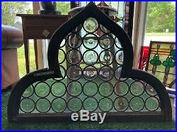 Antique French Leaded Stained Rondel Bottle Glass Quatrefoil Window