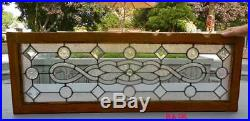 Antique LEADED (Stained) BEVELED TEXTURED GLASS WINDOW OAK FRAME