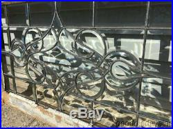 Antique Leaded Beveled Glass Transom Window Circa 1900 32 by 21