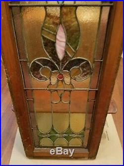 Antique Leaded Stained Glass Window Panel Frame Reclaim Salvage 46