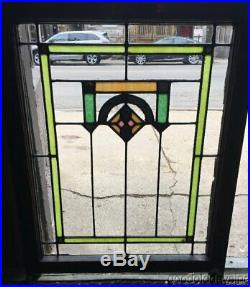 Antique Pair of Chicago Bungalow Stained Leaded Glass Window 34 x 26' ca. 1925