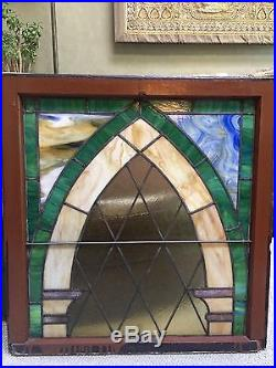 Antique Stained Glass Slag Glass Window Sash Leaded Stained Glass Window LARGE