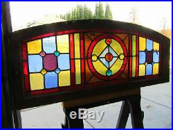 Antique Stained Glass Transom Window 13 Jewels 43.25 X 17.5 Salvage