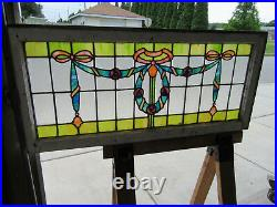 Antique Stained Glass Transom Window 44 X 20 Architectural Salvage