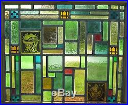 Antique Stained Glass Window Church American Abstract Art Chalice Decorate IL