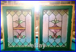 Antique Stained Glass Window PAIR! Original Victorian Leaded Sash Floral
