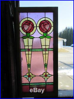 Antique Stained Glass Window With Roses 22 X 47 Architectural Salvage