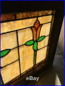 Antique Stained Leaded Glass Transom Window 44 by 21 Circa 1925
