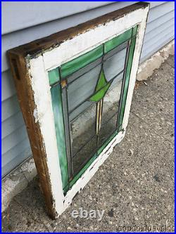 Antique Stained Leaded Glass Window 25 by 22 Circa 1915