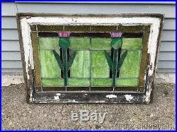Antique Stained Leaded Glass Window 30 by 21 Circa 1925