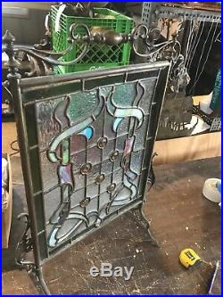 Antique Stainglass And Cast Brass Fire Screen 20 X 28.5
