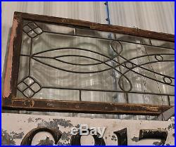 Antique Victorian Large Leaded Beveled Glass Window