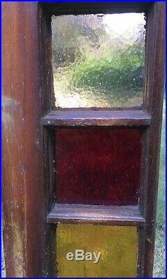 Antique Victorian Stained Glass Queen Anne Sash Window 24x35 Red Gold Green