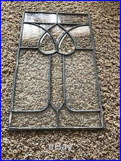Antique Vintage Architectural Leaded Glass Window Floral Beveled