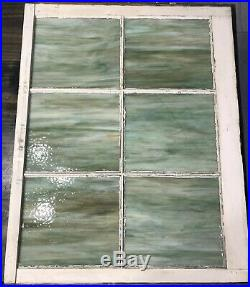 Antique Vintage Green Slag Glass Window Stained Glass Jadite Color 28x32x2