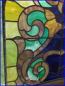 Antique Vintage Stained Leaded Glass Window Slag Salvage American Gothic Arch