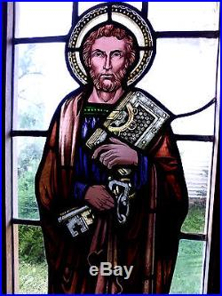 Antique Vtg Church Stained Glass Window Architectural Salvage St. Peter 158A