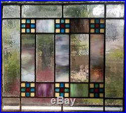 Antique c1905 Stained & Slag Glass Arts & Crafts Window Chicago Salvage