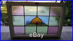 Antique stained glass window, 28 3/4 X 19 3/4