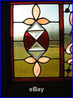Beautiful Antique Stained Leaded Glass Transom Window 51 x 24-3/4 SALVAGE