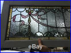 Beautiful Antique Stained Leaded Glass Transom Window 60 by 17 Circa 1900