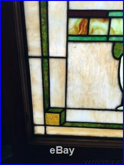 Beautiful Pair of Antique Stained Leaded Glass Windows 28 by 25