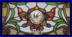 Beautiful Swallow Art Nouveau Painted Bird Antique English Stained Glass Window