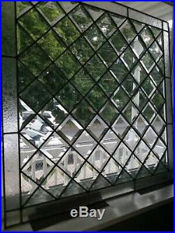 Beveled Diamond Clear Stained Glass Window Panel. 29 1/2 x 29 1/2
