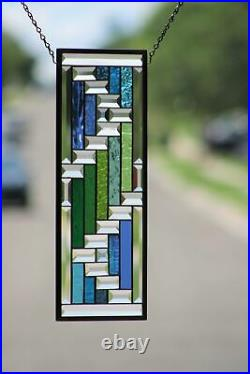 Beveled Stained Glass Window Panel, Ready to Hang 19 1/2 X 7 1/2