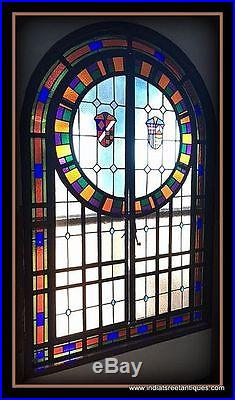 C. 1900 Large Leaded Stained Glass Arched Window / Door Medieval Shield Motif