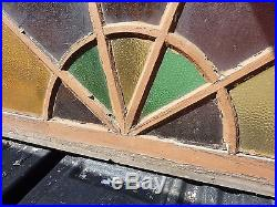 C1880 HUGE arched STAIN glass window frame 72 x 36 x 1 3/8 ONE cracked pane