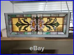 Ca1900 Antique VICTORIAN ESTATE Salvaged STAINED GLASS TRANSOM Old LEADED WINDOW