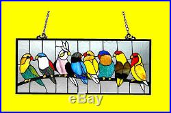 Colorful Birds on Wire Tiffany Style Stained Glass Window Panel Great Gift