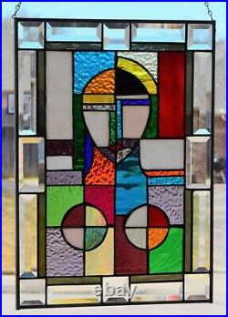 Cube Art Stained Glass Window Panel 20.25 x 14.25