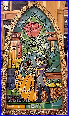 Disney Parks Beauty & The Beast Stained Glass Decorative Window Frame New With Box