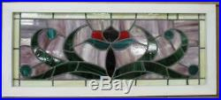 ENGLISH LEADED STAINED GLASS WINDOW TRANSOM From an English Pub 39.75 x 17.25