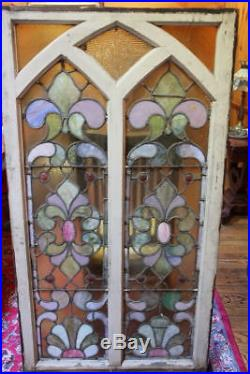 Exceptional matched pair of stained glass windows-large at 33 x 59 -15421
