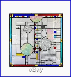 Frank Lloyd Wright Abstract Tiffany Stained Glass Window Panel Geometric 24 INCH