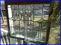 GO-P-59 LARGE Lovely Leaded Stain Glass Window F/England 33 X 30 1/4