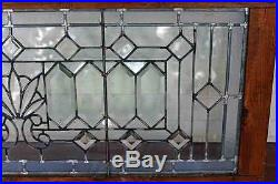 Glass / Beautiful Antique Framed Decorative Leaded Beveled Glass Window or Panel