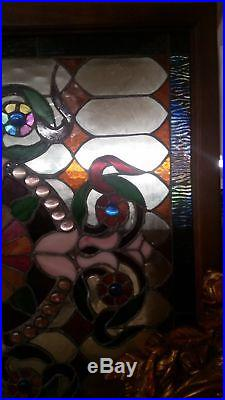 Glass Window Square Stained Leaded Wood Frame with Cobalt Blue Jewel Victorian D