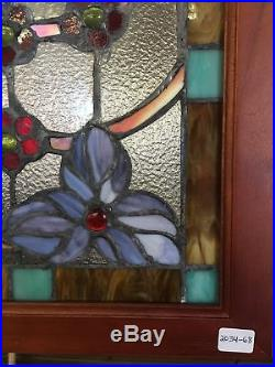Glass Window Stained Leaded Wood Frame Dragonfly Design