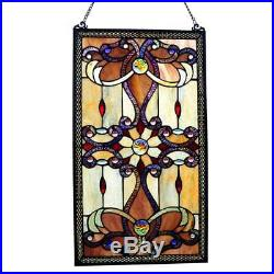 Glass Window Stained Panel Antique Vintage Style River Of Goods 26 Inch Décor