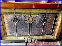 Great Antique Art Nouveau Tulip Stained Glass Transom Window For Your Home