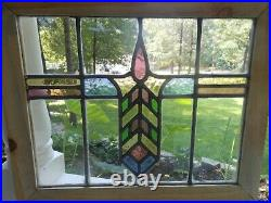 HJ-63 Lovely Leaded Stained Glass Window F/England Reframed 20 1/2 X 16 7/8