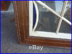 HUGE gable END stain GLASS arched WINDOW oak FRAME spiderweb design 63 x 43
