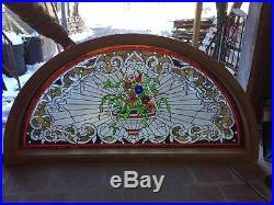 Hand Cut Stained And Jeweled Glass Victorian Style Transom Window Jhl87