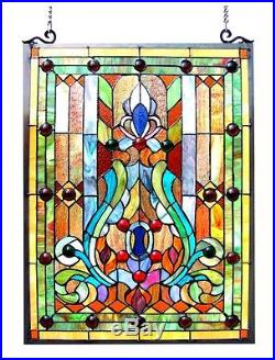 Handcrafted Stained Glass & Cabochons Victorian Design Window Panel 18 x 25